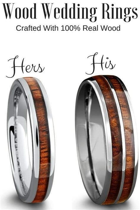 His and Her matching wood wedding band set! Crafted out of