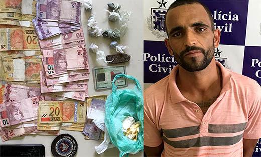 Homem possuía mandado de prisão em aberto por tráfico de drogas e receptação de carro | Foto: Notícias de Santaluz