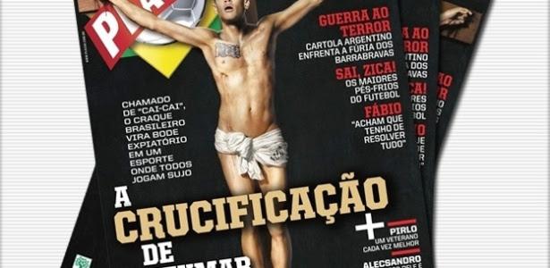 A revista esportiva 'Placar' causou polêmica com a capa de Neymar crucificado