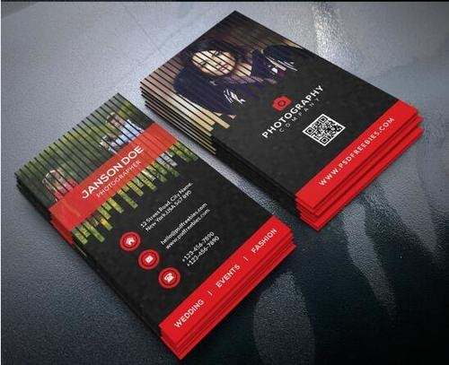Free Download Template Business Card PSD - Photographer Red