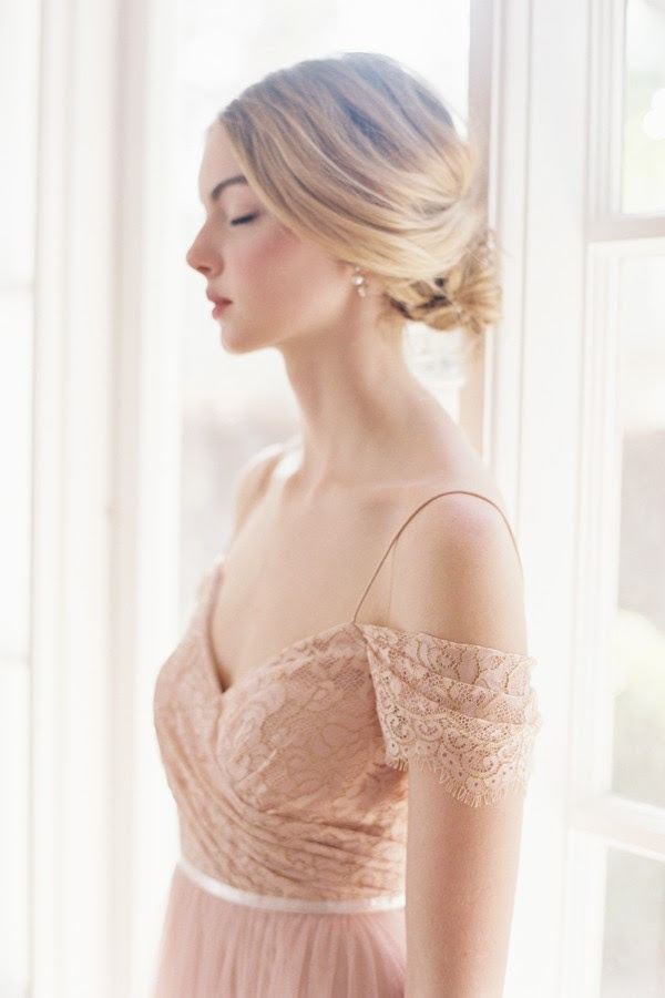 Off the Shoulder Blush  Lace Bodice Tulle Bridesmaid Dress with Ribbon _2