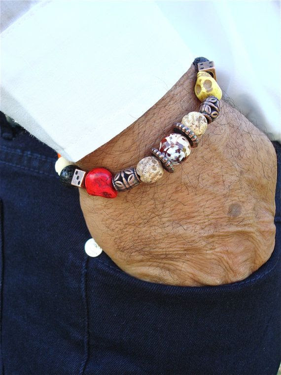 Men's Bracelet with Skulls Carved on Howlite Carved by tocijewelry, $38.00
