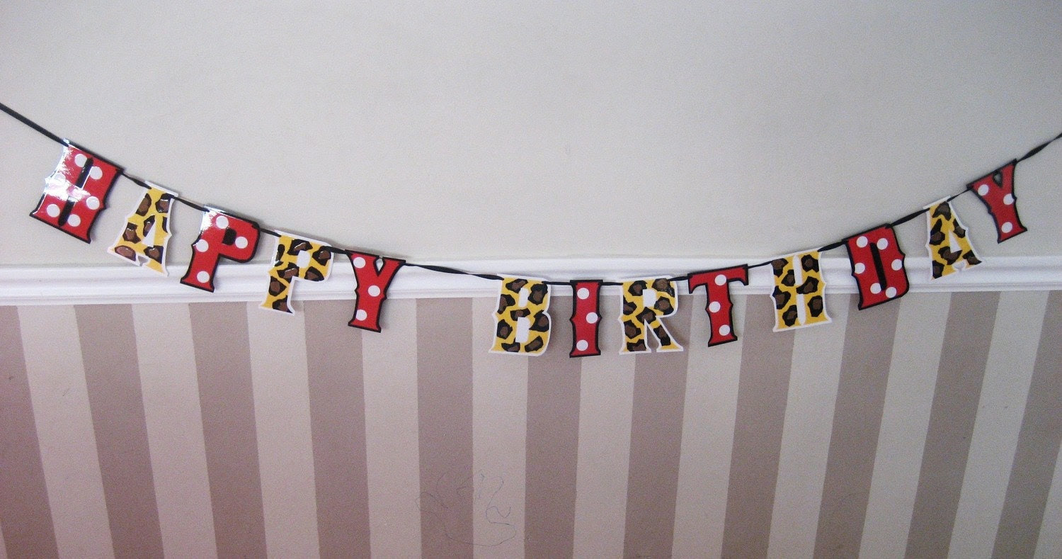 HaPPY BiRTHDAY Banner - Golden Yellow LEoPARD and Red MiNNIE Polka Dots