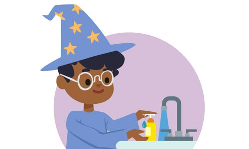 illustration of a child wearing a wizard costume washing their hands