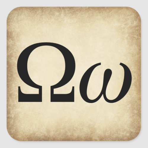 Greek Alphabet Letter Omega Square Sticker