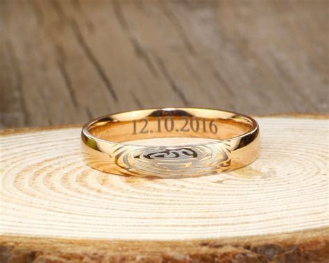 Your Actual Finger Print Rings, WEDDING RING   Rose Gold