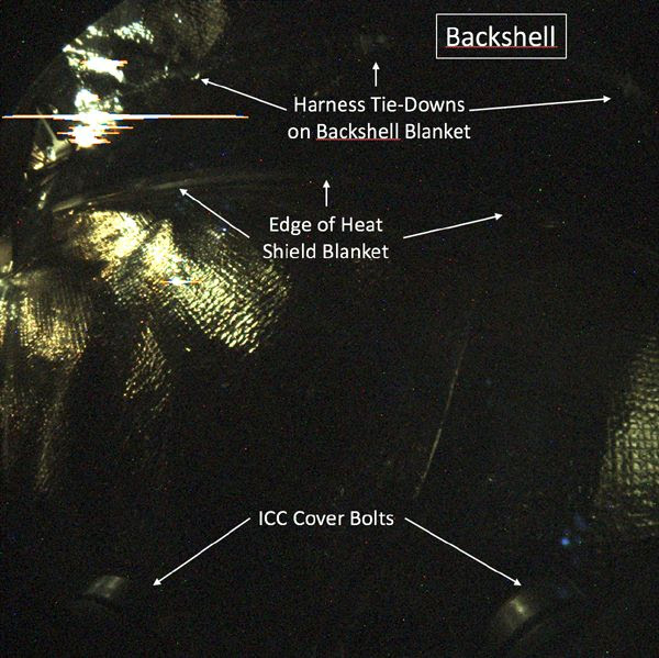 An annotated image of the backshell that encapsulates InSight...as taken by the lander's Instrument Context Camera during the ongoing journey to Mars.