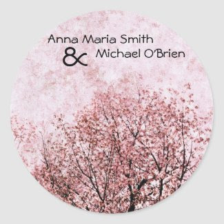 peach tree branches wedding stickers sticker