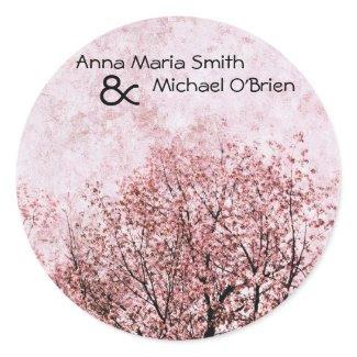 peach tree branches wedding stickers sticker