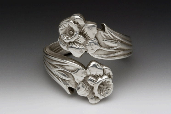 Unusual Handmade Silver Ornate Daffodil Lilly Flower Spoon Handle Adjustable RING