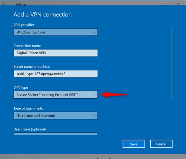 Agregar una conexión VPN: seleccione el tipo de VPN