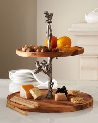 Two-Tier Tray with Squirrel Stem  Wood, cupcake or cheese stand.