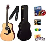 Yamaha FG720S Natural Folk Acoustic Guitar Bundle with Yamaha Hard Case, Instructional DVD, Picks, Strap, Strings...