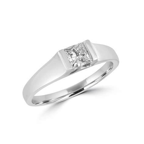 Chunky Platinum half carat Princess Diamond Engagement Ring