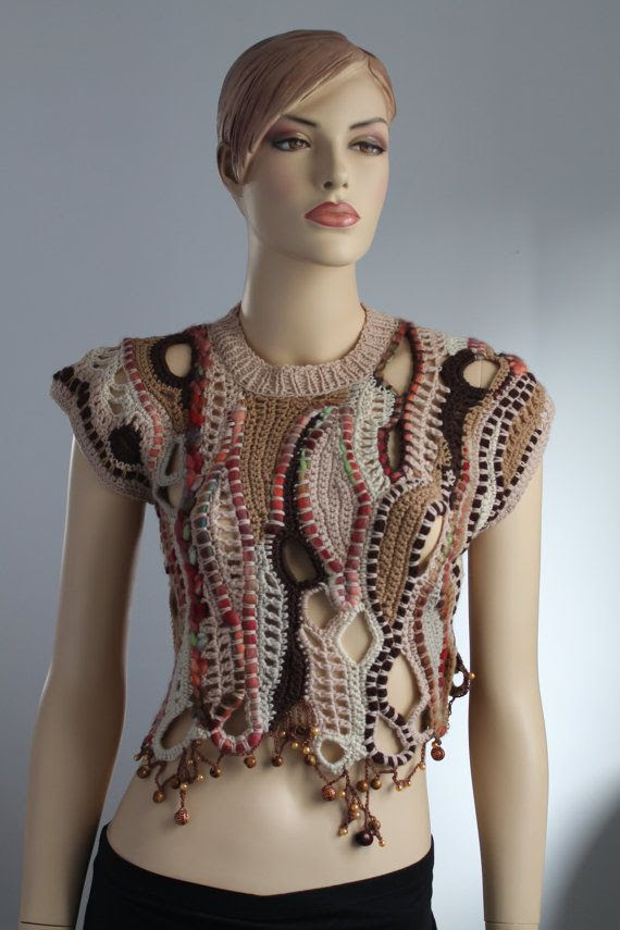 Freeform Crochet  Vest  - Sweater - Wearable Art - OOAK