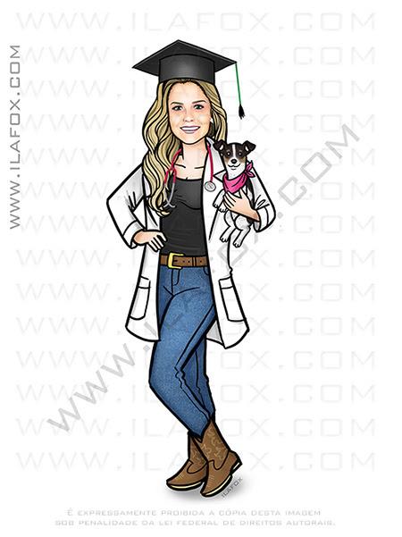 caricatura jaleco Elisa, caricatura formando, caricatura formatura, caricatura médico, by ila fox