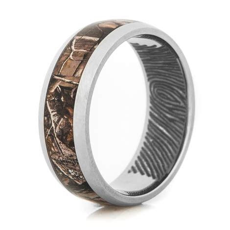 Fingerprint Camo Ring   Unique Titanium Rings & More