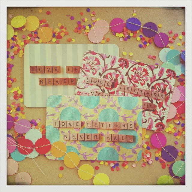 """Beautiful """"Love Letters"""" Postcard Set - Heavy Cardstock - Set of 3 Assorted Pretty Fabric/Scrabble Letter Designs."""