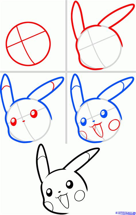 draw pikachu easy step  step pokemon characters