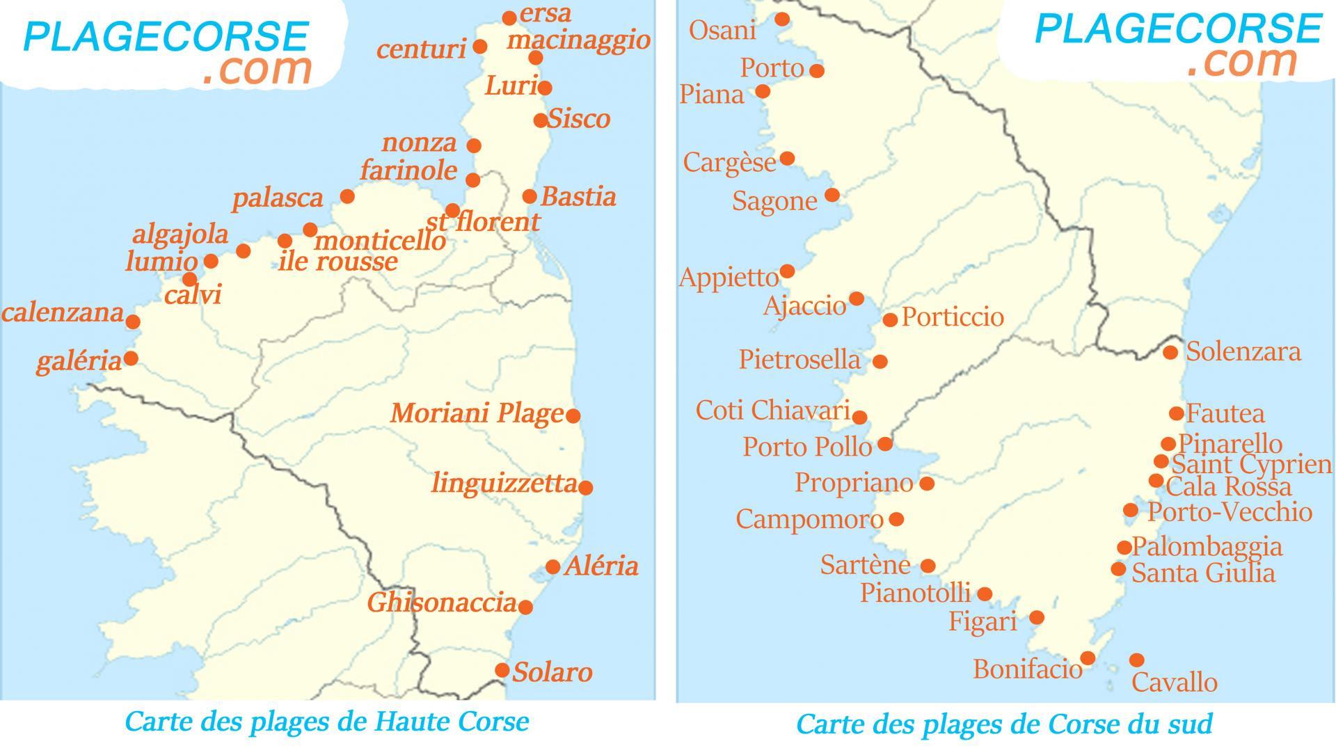 Carte Détaillée Des Plus Beaux Endroits De Corse