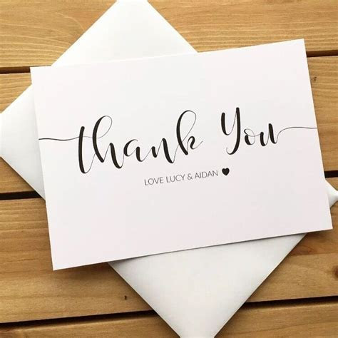 10 Personalised Wedding Thank You Cards with Envelopes
