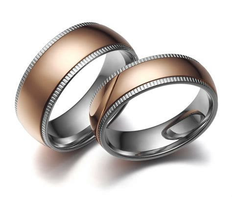 New Stainless Steel Dome Ring Rose Gold Center Wedding