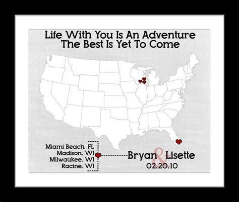 Custom Wedding Travel Theme Map Love Story Quote: Unique