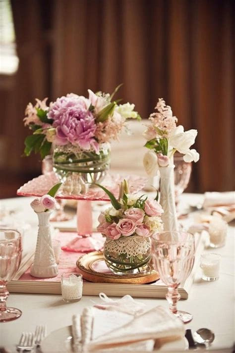 Lace Wrapped Glass Vases Unique Centerpiece Ideas   Unique