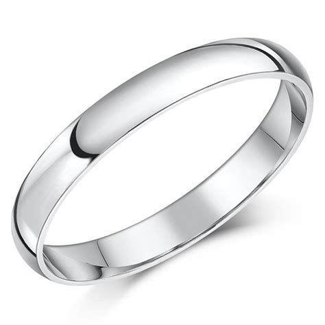 9ct White Gold Ring Light Weight D Shaped Wedding Ring