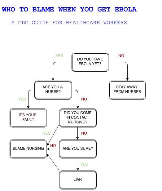 Who to blame when you get Ebola.  A CDC guide for healthcare workers flowchart photo.