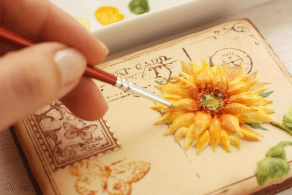 Handpainting del girasol: