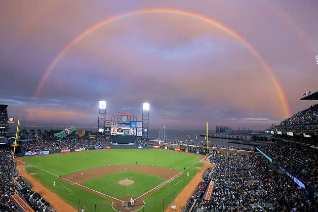General view of AT&T Park with a rainbow in the background during the first inning between the San Francisco Giants and the Arizona Diamondbacks on September 5, 2012 in San Francisco. Photo: Jason O. Watson, Getty Images / SF