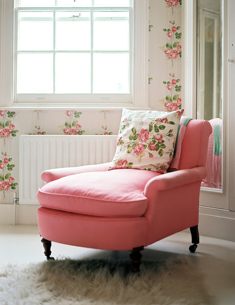 Cath Kidston - Floral wallpaper in a room with a pink armchair
