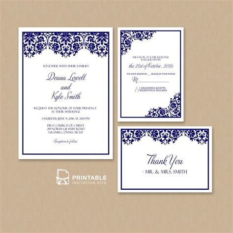Free PDF Damask Frame Wedding Invitation Templates ? Set