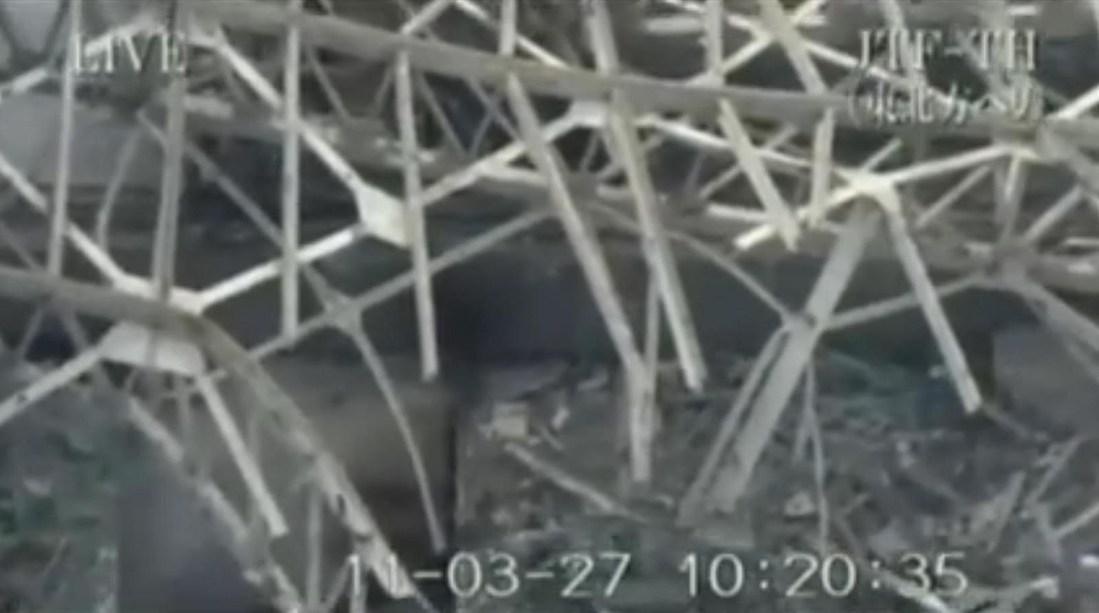 Fig. 94 : Piscine d'équipement vide le 27 mars 2011 (cavité en bas à gauche)
