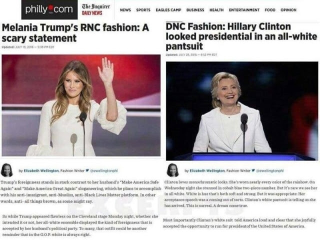 Philly Inquirer Melania vs Hillary
