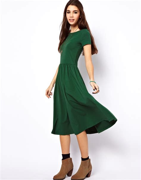 lyst asos midi dress  short sleeves  green