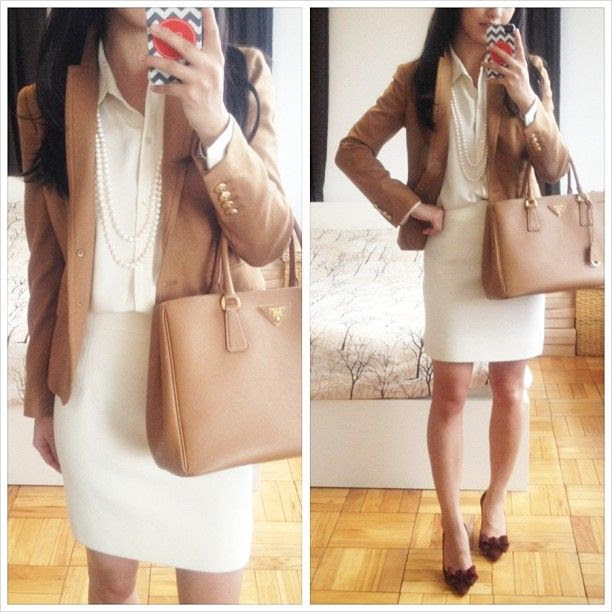 Work outfit: winter white + classic camel | Professional Style @ Levo (via Extra Petite Blog)