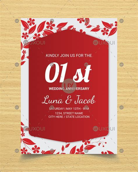 Happy wedding anniversary invitation card design with