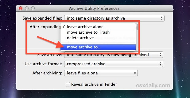 Automatically Move Archives After Extraction in Mac OS X