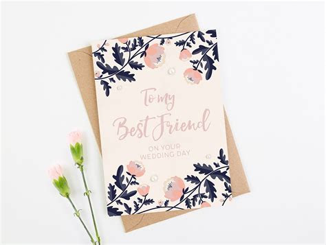 Best Friend Wedding Day Card Navy Floral   norma&dorothy