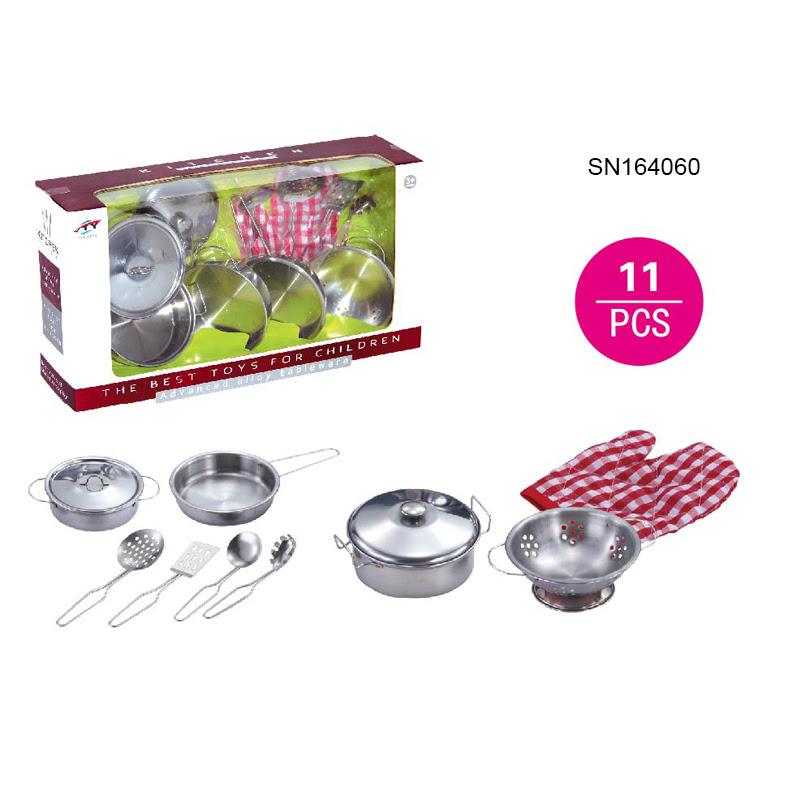 2019 hot sale mini  Stainless steel  kitchen  set  toy kids