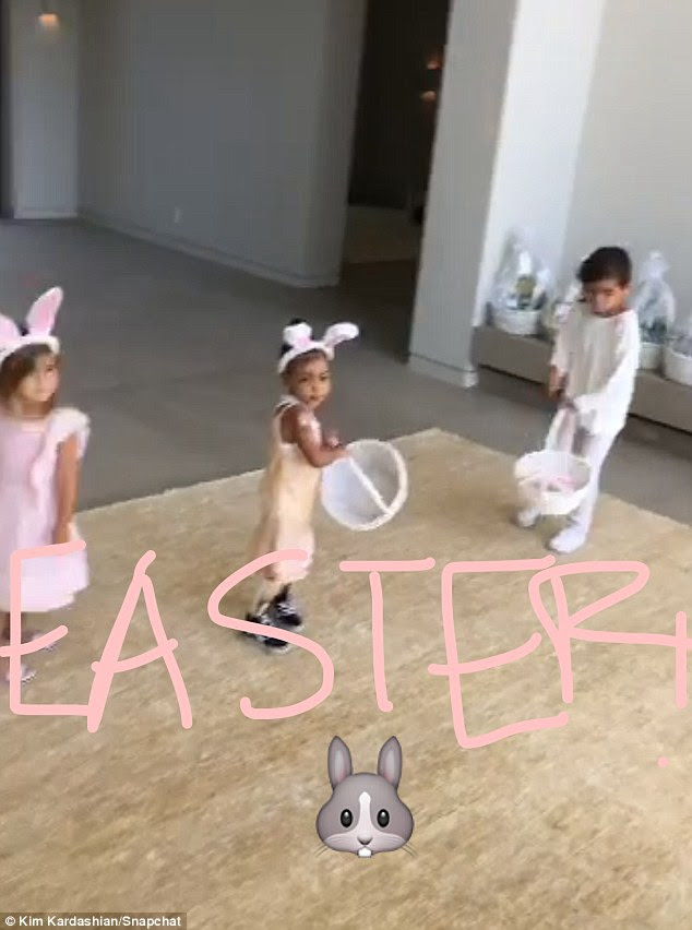 Hop to it! Kim was more than happy to share a cute Snapchat clip of her daughter North playing with her cousins Mason and Penelope on Easter Sunday