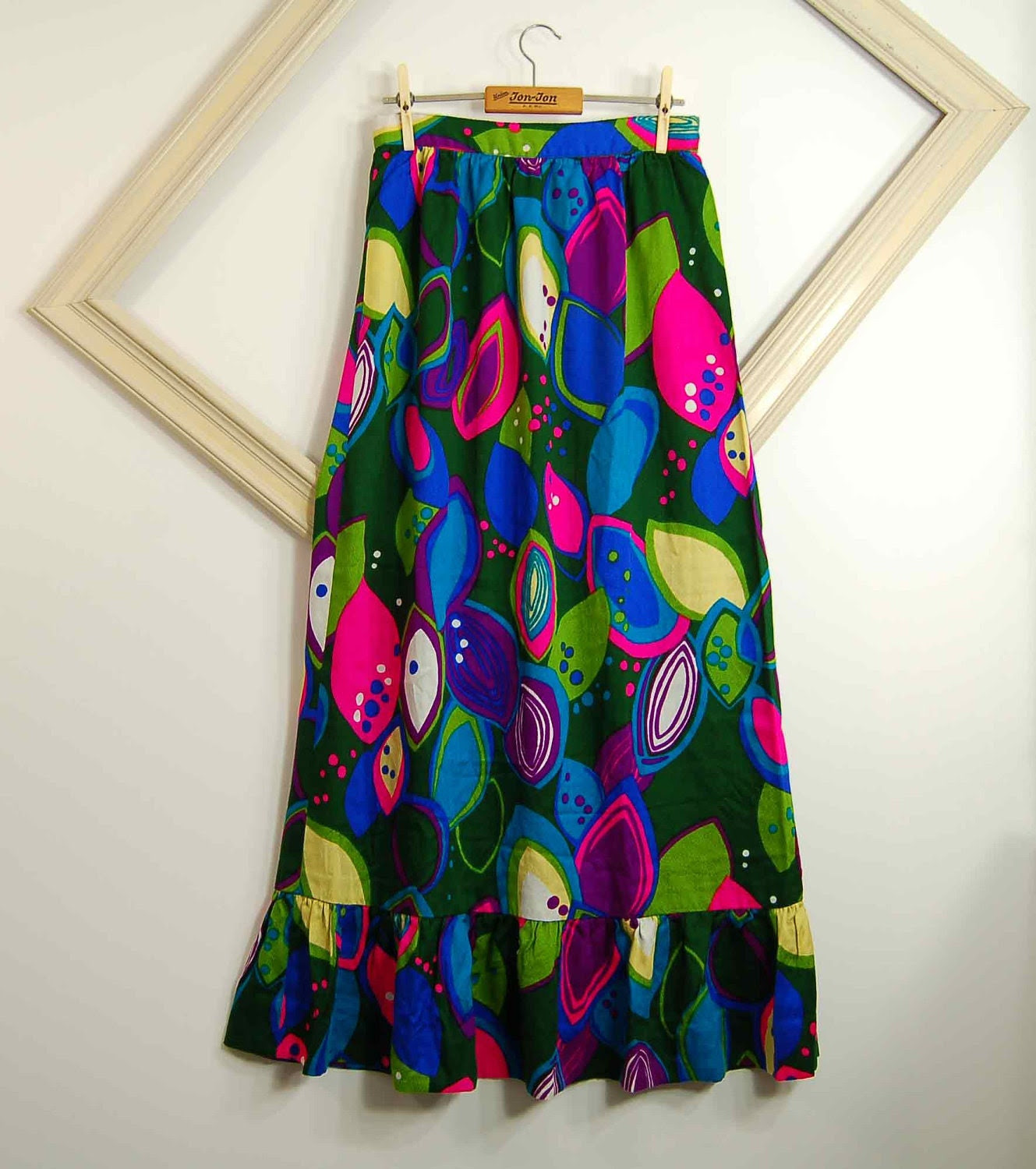 1970s vintage bold NEON abstract print maxi skirt