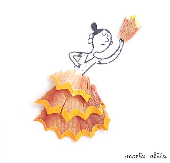 8 Illustrations Copeaux Crayons Marta Altes Illustrations Poetiques aux Copeaux de Crayons par Marta Altés