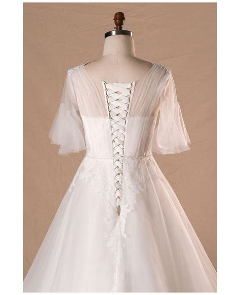 Plus Size Flowers Lace Country Outdoor Wedding Dress With