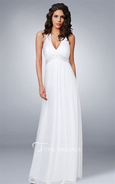 Halter V Neck Empire Chiffon Wedding Dress   June Bridals