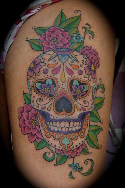 Candy Skull Tattoo Tattoo Bytes