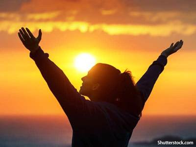 People Woman Praise Sunset