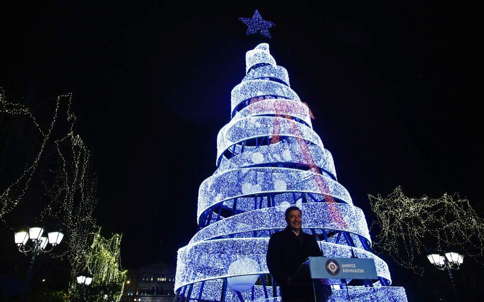 Christmas Tree Lights Up In Central Athens Multimedia